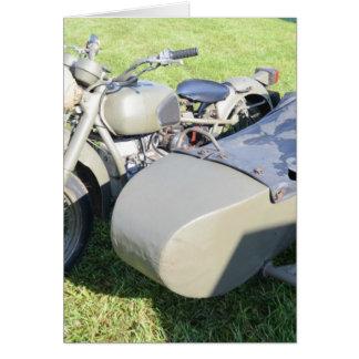 Combinación militar de la motocicleta del vintage tarjeta de felicitación