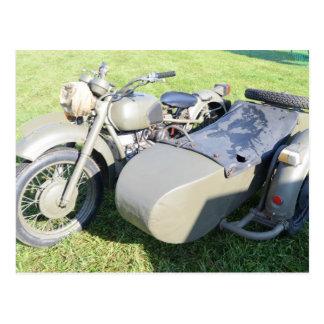 Combinación militar de la motocicleta del vintage tarjetas postales