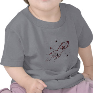 Combinado negro rojo de Rocketship de la estrella Camiseta
