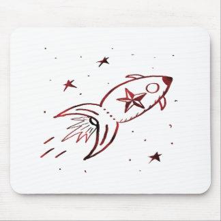 Combinado negro rojo de Rocketship de la estrella  Tapetes De Raton