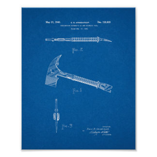 Combination Fireman's Ax And Wrecking Tool Patent Poster