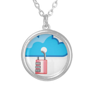 Combination lock to Cloud Networking Round Pendant Necklace