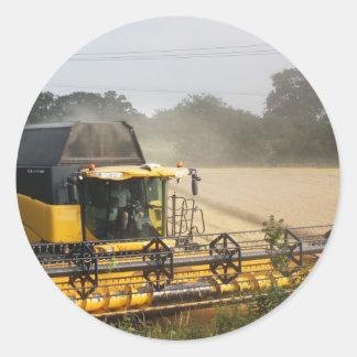 Combine harvester classic round sticker