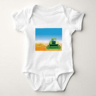 Combine Mows and Harvests crops vector Baby Bodysuit