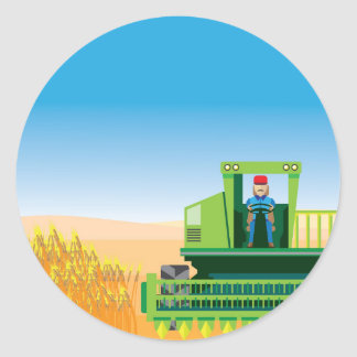 Combine Mows and Harvests crops vector Classic Round Sticker