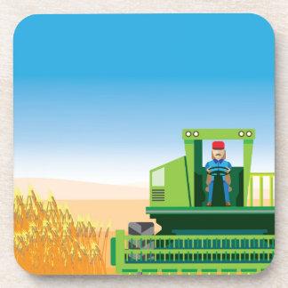 Combine Mows and Harvests crops vector Coaster