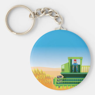Combine Mows and Harvests crops vector Keychain