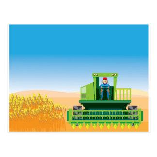 Combine Mows and Harvests crops vector Postcard