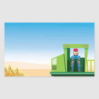 Combine Mows and Harvests crops vector Rectangular Sticker