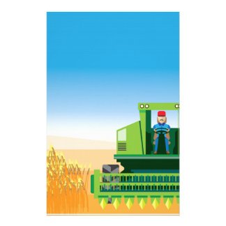 Combine Mows and Harvests crops vector Stationery