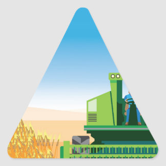 Combine Mows and Harvests crops vector Triangle Sticker