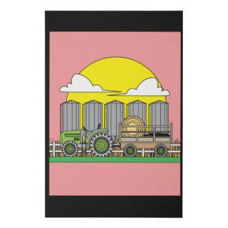 Combine Tractor Retro Faux Canvas Print