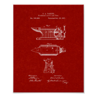 Combined Anvil And Vise Patent - Burgundy Red Posters
