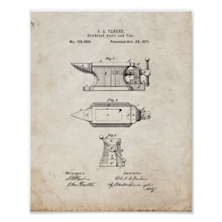 Combined Anvil And Vise Patent - Old Look Print