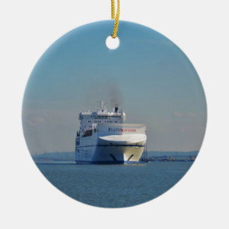 Combined Ferry And Container Ship Double-Sided Ceramic Round Christmas Ornament