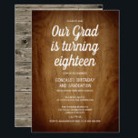 "Combined Graduation 18th Birthday Party Rustic Invitation<br><div class=""desc"">Combined graduation and birthday party design featuring the words,  in white,  ""Our grad is turning eighteen/18"",  against image of brown wooden surface. The back is adorned with picture of rustic wood background. Easily customize with your party details,  favorite fonts and colors</div>"