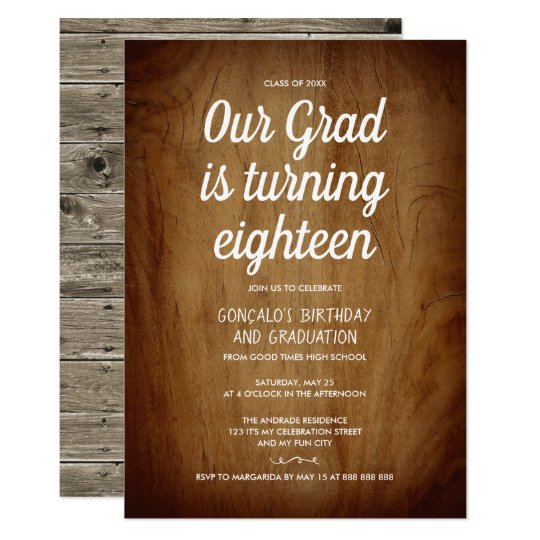 Combined Graduation 18th Birthday Party Rustic Invitation