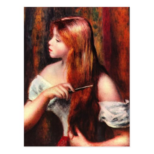 Combing girl by Pierre Renoir Post Card