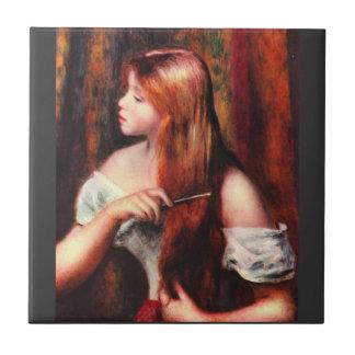 Combing girl by Pierre Renoir Tile
