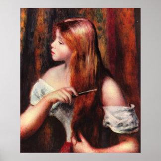 Combing Girl Print