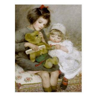 Combing Teddy Vintage Painting Postcard