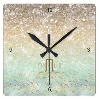 Combo Glitter Gradient Opal Gold ID435 Square Wall Clock