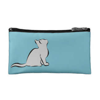 Combo: logo/black cat, grey fill makeup bag