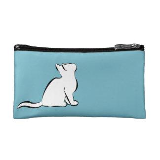 Combo: logo/black cat, white fill makeup bag