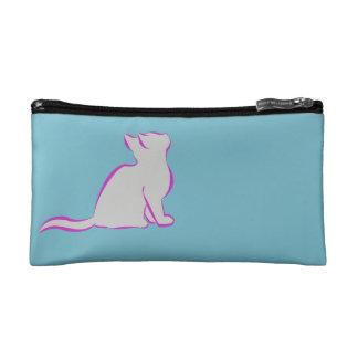 Combo: logo/pink cat, grey fill makeup bag