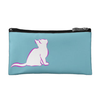 Combo: logo/pink cat, white fill cosmetic bag