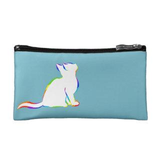 Combo: logo/rainbow cat, white fill cosmetic bag