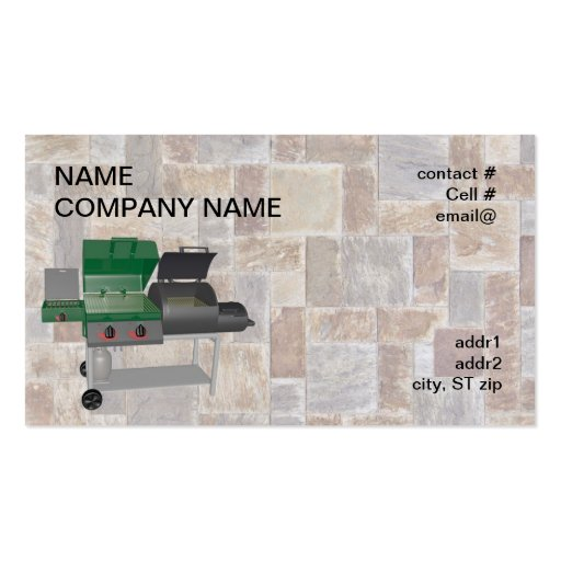 combo smoker bbq grill business card templates