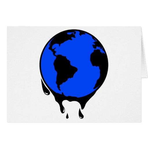 Combustible biológico del aceite del mundo tarjeta de felicitación