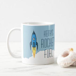 Combustible de Rocket Rocketship retro azul Taza De Café
