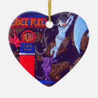 Combustible del espacio adorno navideño de cerámica en forma de corazón