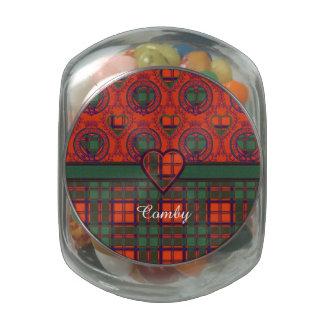 Comby clan Plaid Scottish kilt tartan Glass Candy Jar