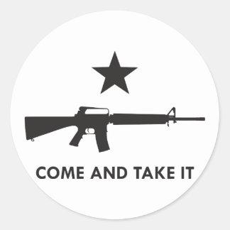 Come and take it! (AR15) Round Sticker