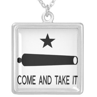 Come and Take It Flag ~ Texas Silver Plated Necklace