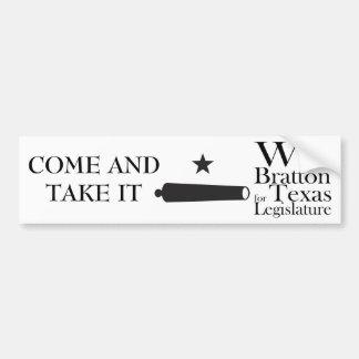 COME AND TAKE IT! Gonzales Flag, Will Bratton Car Bumper Sticker