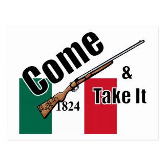 Come and Take It Texas Flag 1824 Postcard