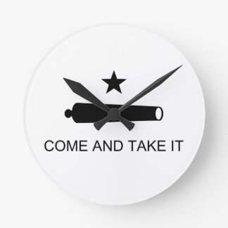 Come And Take It Texas Flag Battle of Gonzales Round Clock