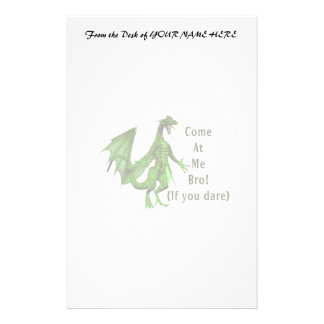 come at me bro dragon green stationery