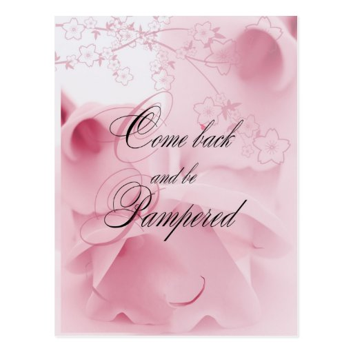 come back and be pampered postcard
