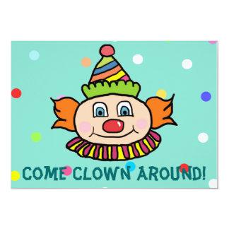 "Come Clown Around With Us Circus Clown Birthday 5"" X 7"" Invitation Card"