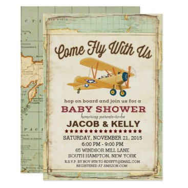customizable airplane gifts - park pixies, Baby shower invitations