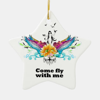 Come fly with me ceramic ornament