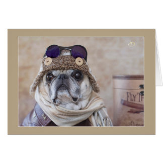 Come Fly With Me Pug Card
