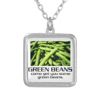 Come Get You Some Green Beans. Square Pendant Necklace