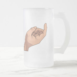 Come Here Hand Sign Gesture Frosted Glass Beer Mug