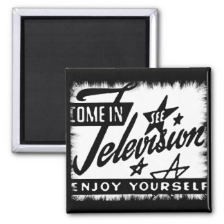 Come In See Television Enjoy Yourself Retro TV Ad 2 Inch Square Magnet